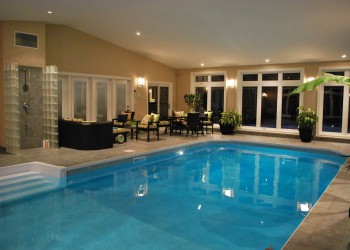 Indoor Swimming Pool in Elk Grove CA by Night